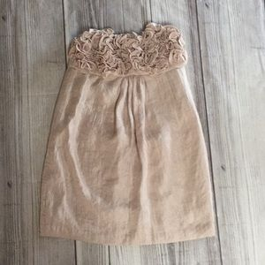 alexia admor shimmery champagne strapless dress